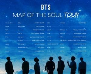 BTS、全世界スタジアム規模「BTS MAP OF THE SOUL TOUR」1次都市に韓・米・日など17都市発表!