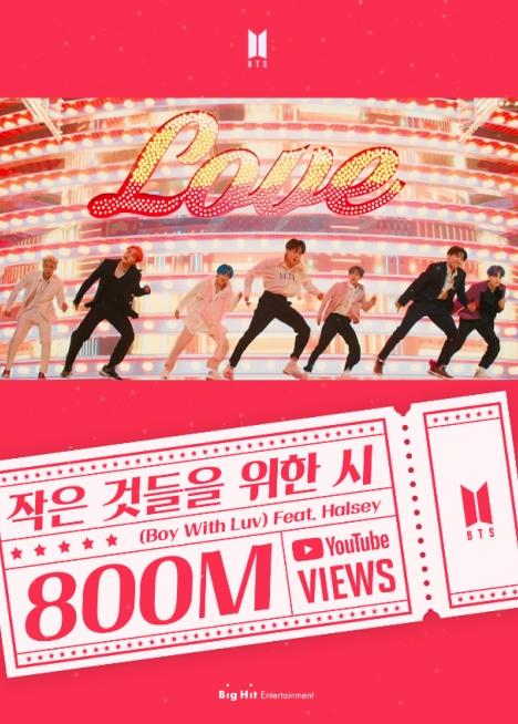 BTS「Boy With Luv (Feat. Halsey)」MV 8億再生突破で1億以上24本の大記録!