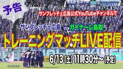 J1サンフレッチェ広島、13日(土)、ガイナーレ鳥取とのトレーニングマッチをライブ配信