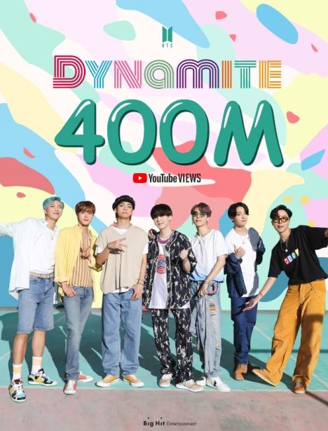 BTSデジタルシングル「Dynamite」ミュージックビデオ再生回数4億回突破!