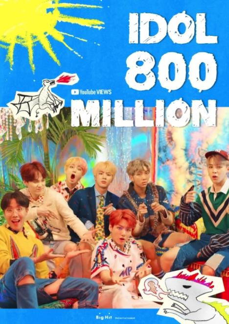 BTS、「IDOL」ミュージックビデオ、8億再生達成!通算5本目8億再生ミュージックビデオ!