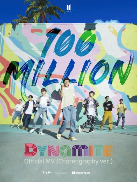 BTS(防弾少年団)「Dynamite」振付バージョンMV、1億ビュー突破!通算29回目の1億ビューMV