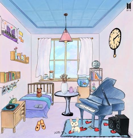 BTS(防弾少年団)ファンの部屋完成!JINが犬とピアノで「Curated for ARMY」を飾る!