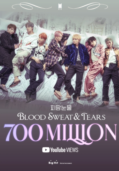 BTS(防弾少年団)「Blood Sweat & Tears」MV、7億ビュー突破!通算7回目の7億ビューMV!<br/>