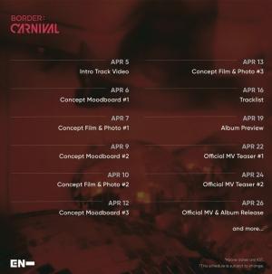 ENHYPEN、26日のカムバックを控えて「BORDER : CARNIVAL」PVカレンダー一挙公開!
