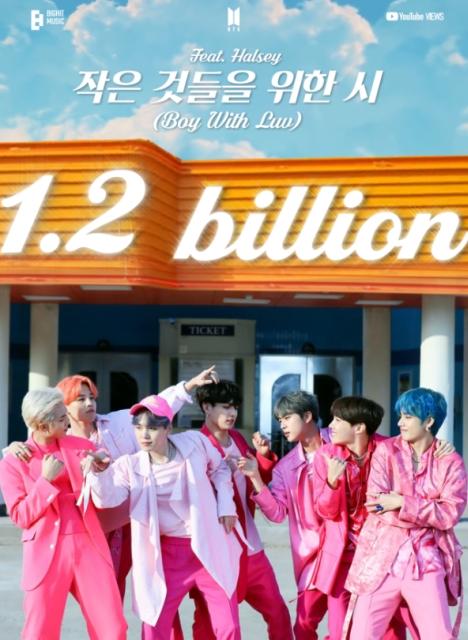 BTS「Boy With Luv (feat. Halsey)」MV12億ビュー突破!通算2回目の12億ビューMV記録!