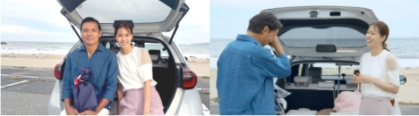 Honda FIT 発売20周年企画、「タイムスリップ ドライブ」リポーター阿部祐二と、モデル/タレントの娘・阿部桃子がチャレンジ!